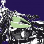 harley-davidson heritage softail springer vert & bleu - photographisme - format 800 x 600
